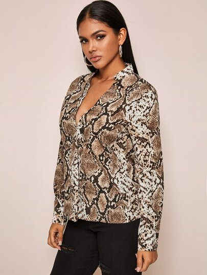 Snakeskin print blouse with notch collar - What's Your Chic