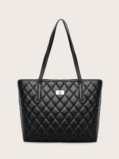 Twist-lock quilted tote w/ purse - What's Your Chic