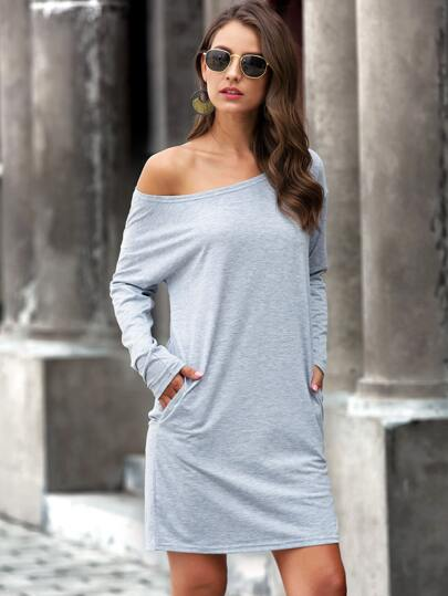 Boat Neck Slant 'T' Dress - What's Your Chic