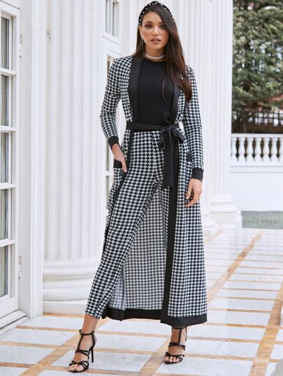 Contrast Houndstooth belted coat & pants set - What's Your Chic