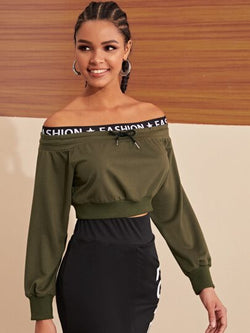 Drawstring Off The Shoulder Sweatshirt (one size) - What's Your Chic