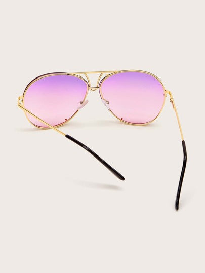 Top Bar Aviator Sunglasses - purple ombre - What's Your Chic
