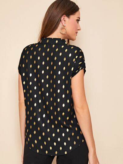 Metallic Gold Dot Print Short Sleeve Top - What's Your Chic
