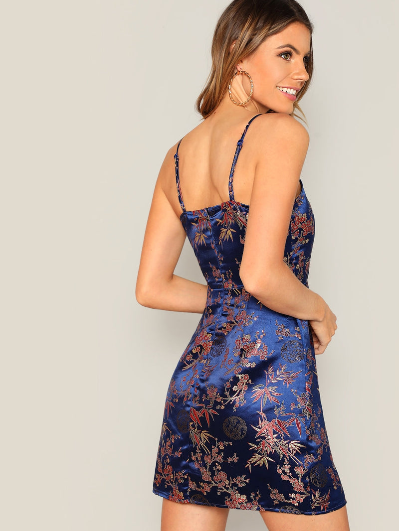 Floral Jacquard Satin Cami Dress - What's Your Chic