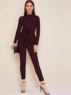 Nothing But Love plaid top & pants set - What's Your Chic
