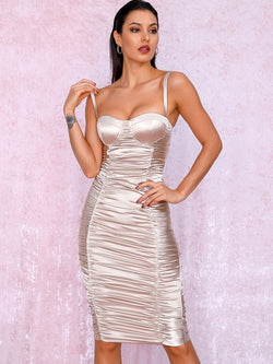 Ruched bustier satin midi dress by LOVE&LEMONADE - What's Your Chic