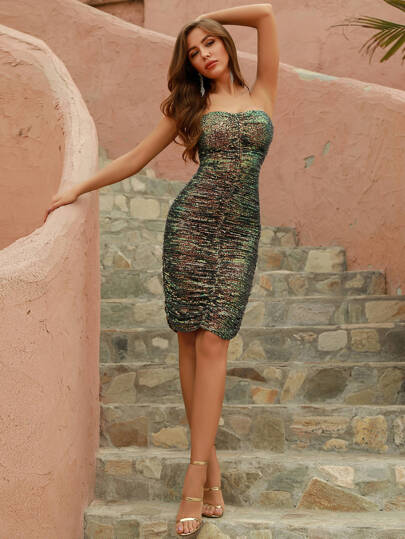 Ruched Tube Sequin Bodycon Dress - What's Your Chic