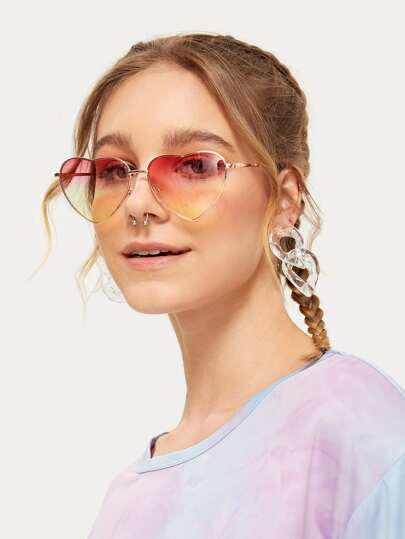 Gradient Lens Heart Frame Sunglasses - What's Your Chic