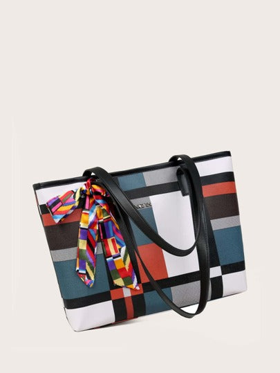 Geometric Print Tote Bag w/ scarf - What's Your Chic