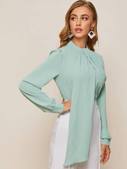 Keyhole back draped blouse - seafoam - What's Your Chic