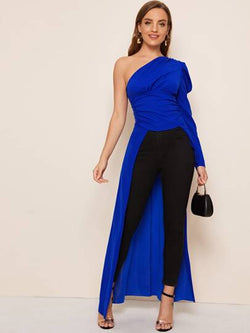 One shoulder gigot-sleeve blouse - royal blue - What's Your Chic