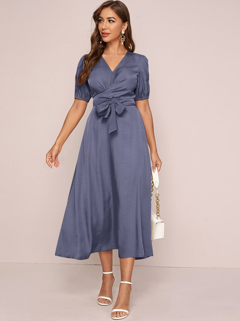 V-neck Tie Front Solid Dress - What's Your Chic