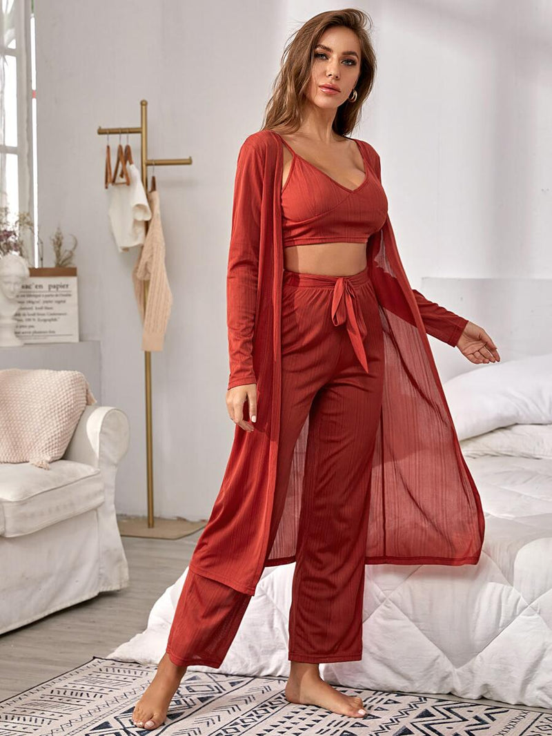 Cami Top & Belted Pants & Robe Lounge Set - What's Your Chic