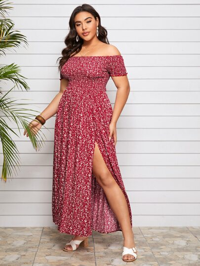 Plus Off Shoulder Shirred Split Ditsy Floral Dress - What's Your Chic
