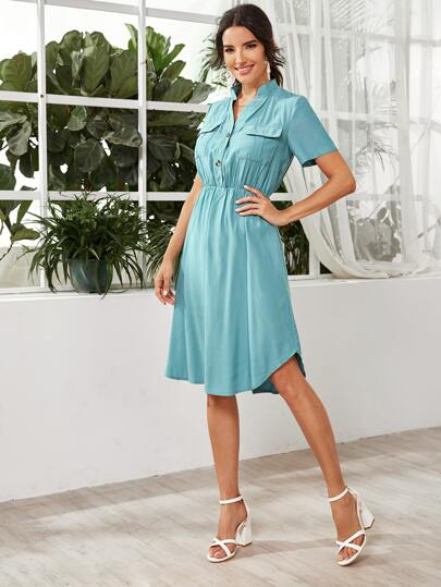 Notched Neck Flap Pocket Curved Hem Dress - What's Your Chic
