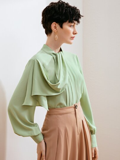 Lantern sleeve blouse - light/mint green - What's Your Chic