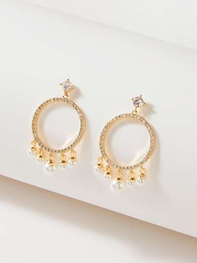 Rhinestone Engraved Drop Earrings - What's Your Chic