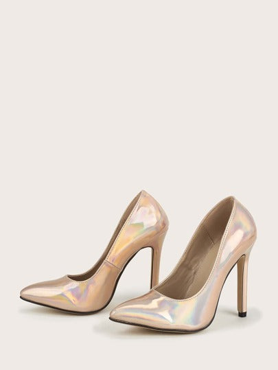 Holographic Stiletto Heeled Pumps - What's Your Chic