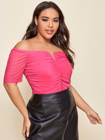 V-bar Ruched Front Bardot Top in pink - What's Your Chic