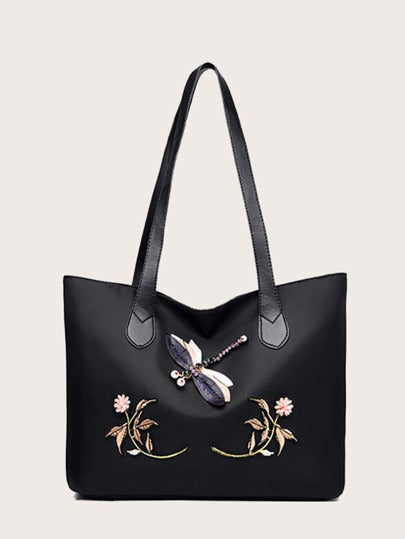 3D dragonfly & flower tote - What's Your Chic