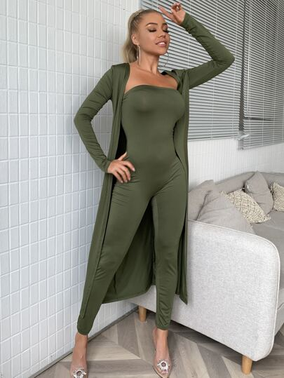 Solid Tube Unitard Jumpsuit With Coat - What's Your Chic
