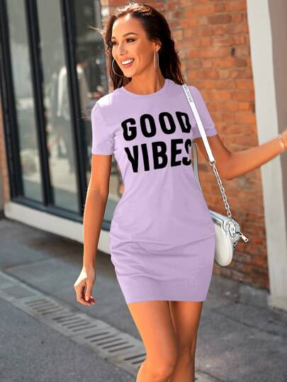 Good Vibes graphic dress - lilac - What's Your Chic