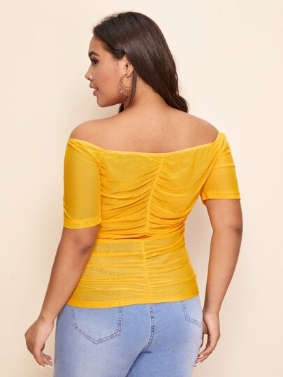 V-bar Ruched Front Bardot Top in yellow - What's Your Chic