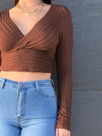 Surplice neck crop top - What's Your Chic