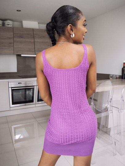 Sleeveless cable knit dress in purple - What's Your Chic