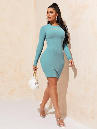 Embroidered Seam Front Bodycon Dress - What's Your Chic