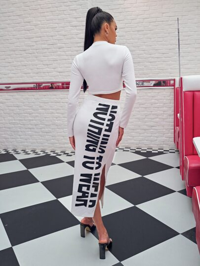 Mock-neck Crop Top and Slogan Skirt Set - What's Your Chic