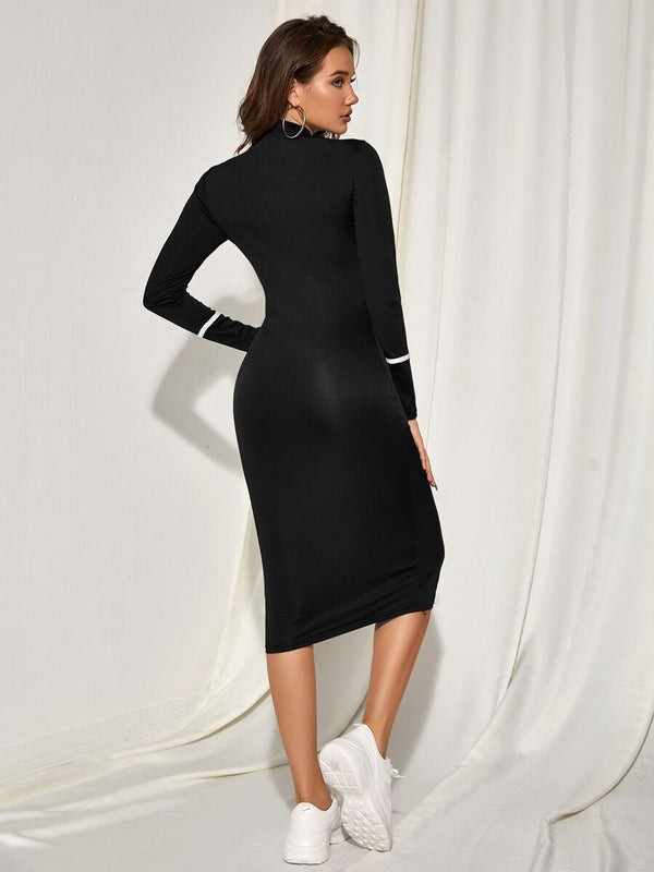 Contrast Piping Midi Bodycon Dress - What's Your Chic