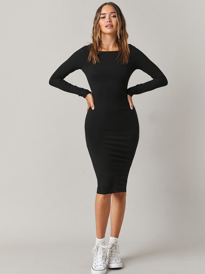 Scoop Neck Solid Long Sleeve Bodycon Dress - What's Your Chic