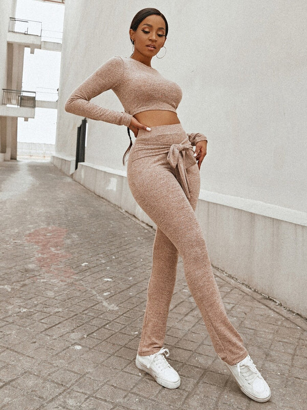 Crop Slim Tee & Knotted Pants Set - What's Your Chic