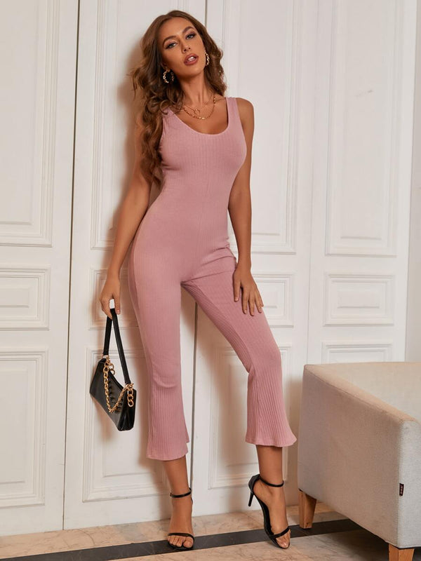 Scoop Neck Rib-knit Capris Jumpsuit - What's Your Chic