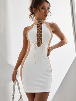 Lace Up Neutral Colorblock Bodycon - What's Your Chic