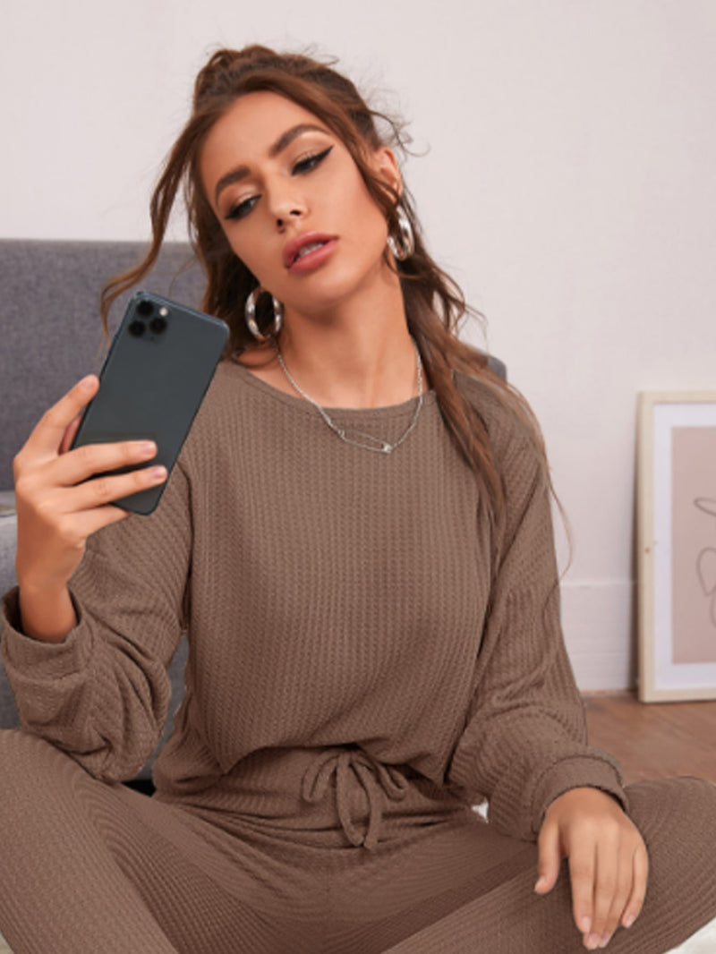 Drop Shoulder Waffle Knit Lounge Top - What's Your Chic