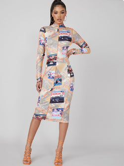 Race Car Print Contrast Stitch Bodycon Midi Dress - What's Your Chic