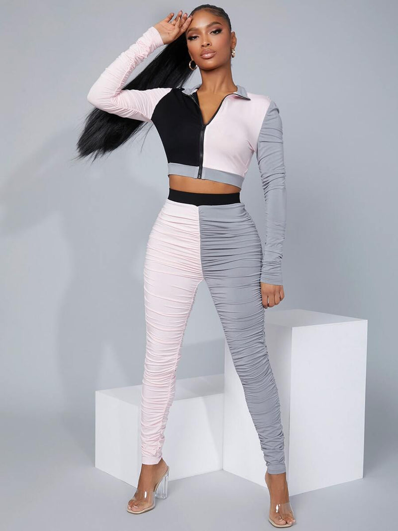 Collared Colorblock Top & Ruched Leggings Set - What's Your Chic