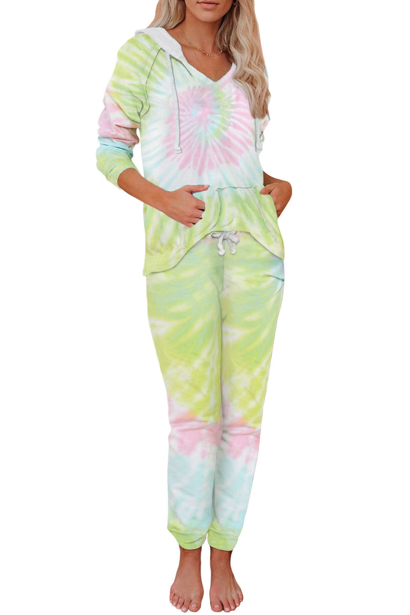 Utopia Cotton Blend Tie Dye Hoodie Joggers Loungewear - What's Your Chic