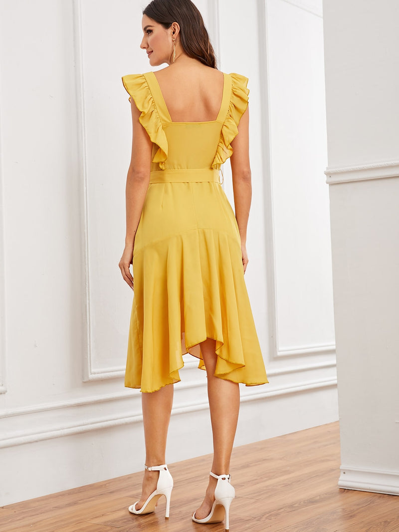 Solid Ruffle Trim Asymmetrical Hem Belted Dress - yellow - What's Your Chic