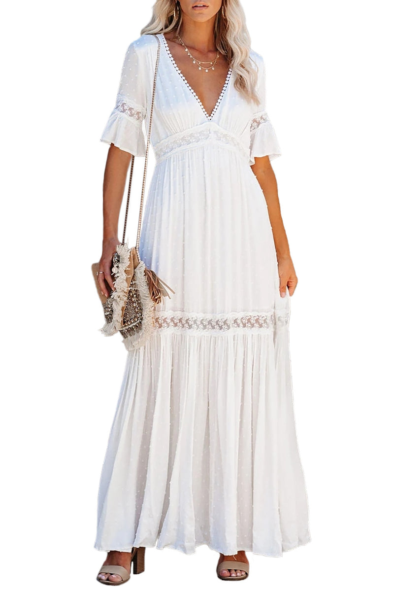 Swiss Dot Lace Trim Maxi Dress - What's Your Chic