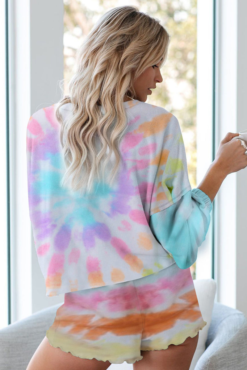 Tie Dye Knit Pajamas Set - What's Your Chic