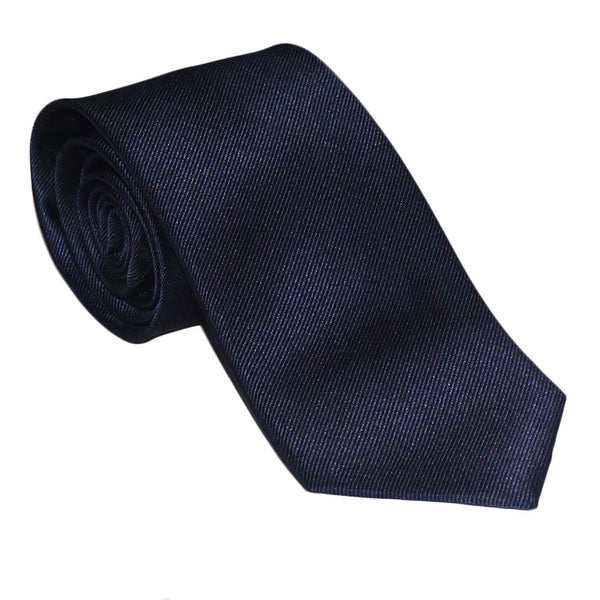 Solid Color Necktie - Navy, Woven Silk - What's Your Chic