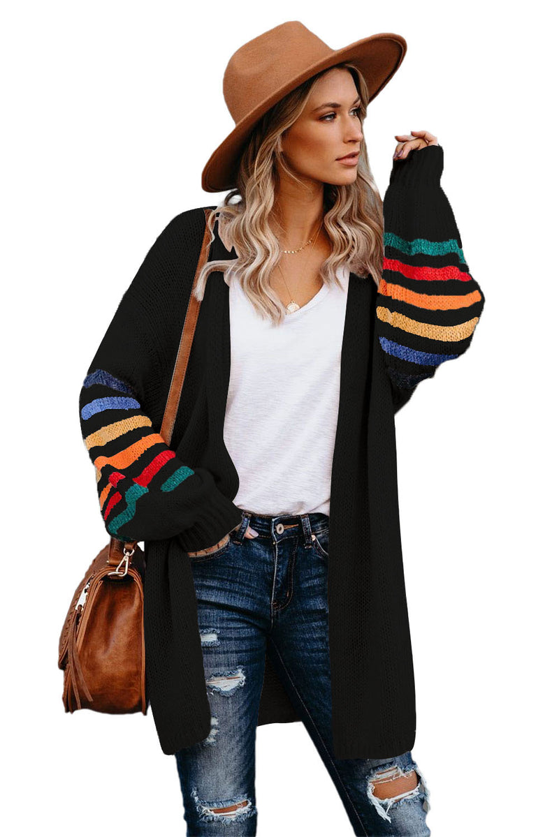 Striped Balloon Sleeve Cardigan - What's Your Chic