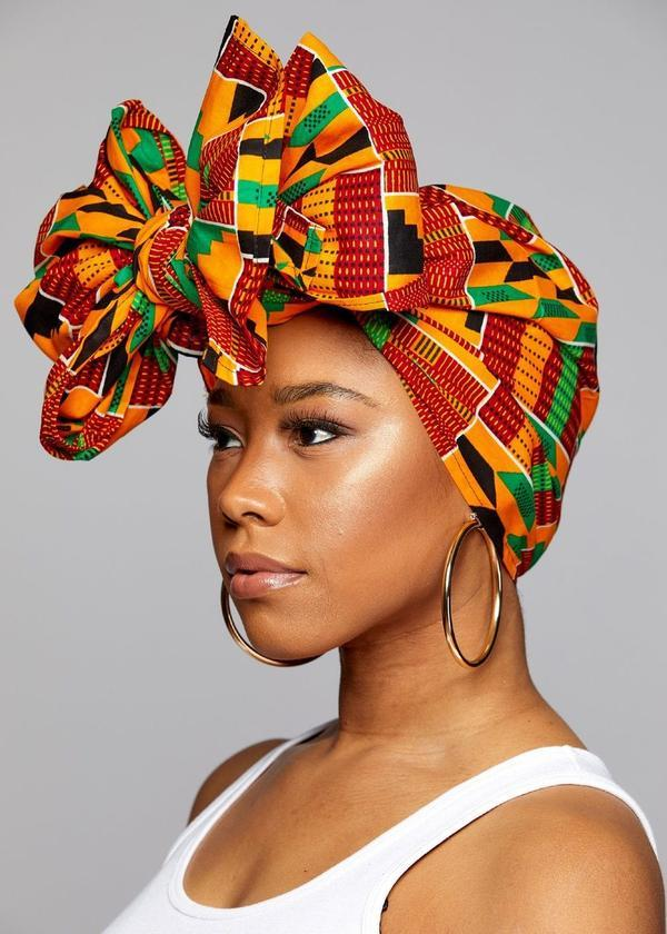 "Kente cloth headwrap (extra long 72""×22"") by Novarena - What's Your Chic"