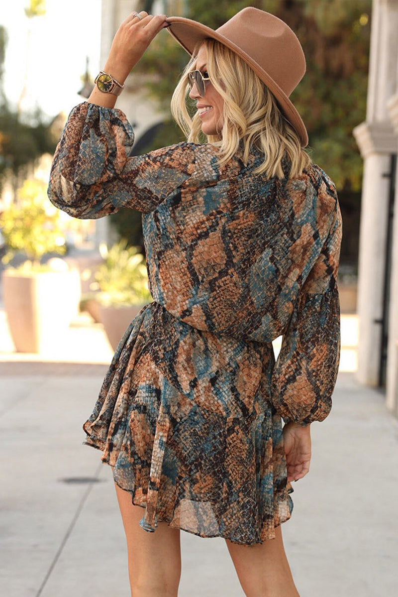 Snakeskin Print Balloon Sleeves Shirt Mini Dress - What's Your Chic