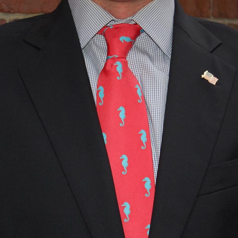 Seahorse Necktie - Coral Pink, Printed Silk - What's Your Chic