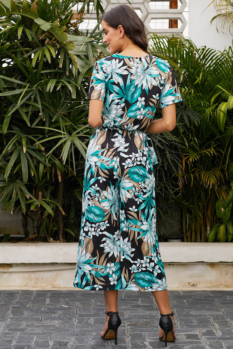 Wrap V Neck Floral Wide Leg Jumpsuit with Belt - What's Your Chic