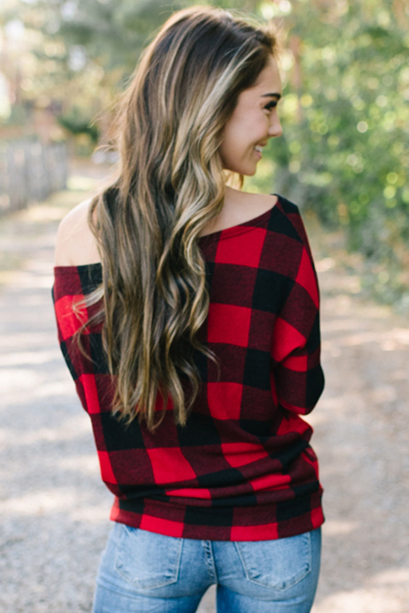 Plaid Off Shoulder Textured Long Sleeve Top - What's Your Chic